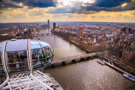 England, London, London Eye and cityscape