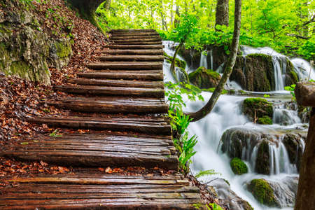 The waterfalls of Plitvice National Park in Croatia photo