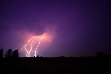 electric storm: clouds and thunder lightnings and storm in Hungary