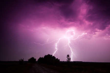 clouds and thunder lightnings and storm in Hungary photo