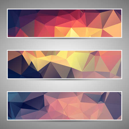 Abstract geometric triangular banners set eps10 Vector
