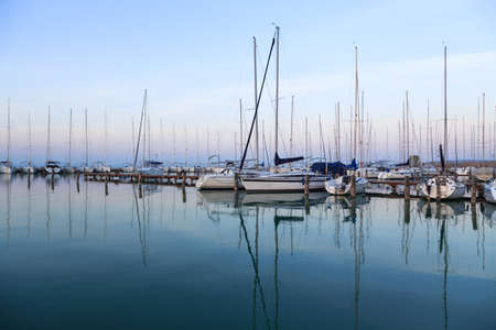 docks: Sailing boats in the marina, lake Balaton, Hungary Stock Photo