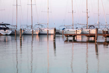 balaton: Sailing boats in the marina, lake Balaton, Hungary Stock Photo
