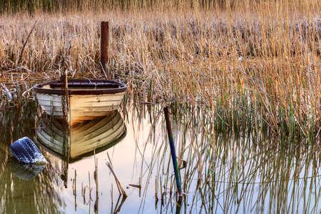 balaton: Sunset on the lake Balaton with a boat  in Hungary