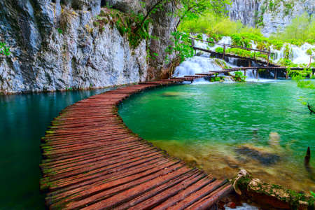 Wooden path in National Park of Plitvice in Croatia photo