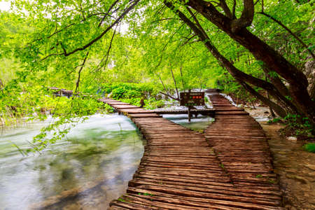 Wooden path in National Park in Plitvice in Croatia photo