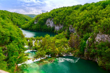 Aerial view  in Plitvice National Park, Croatia Stock Photo