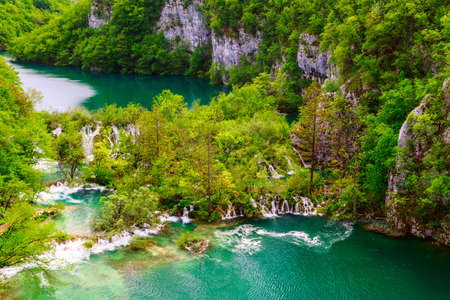 Aerial view  in Plitvice National Park, Croatia photo