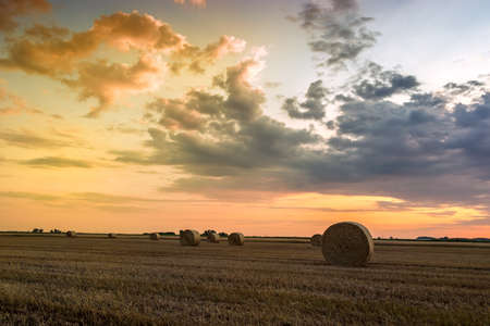 hayroll: Sunset over farm field with hay bales in Hungary Stock Photo