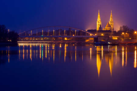 szeged: Night view of Szeged city from the other side of Tisza River in Hungary
