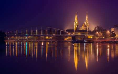 szeged: Night view of Szeged city from the other side of Tisza River-Hungary