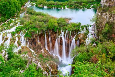 Waterfalls in Plitvice National Park, Croatia photo
