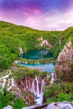 waterfall river: Waterfalls in Plitvice National Park, Croatia