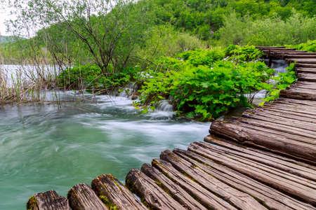 Boardwalk in the park Plitvice lakes, Croatia photo