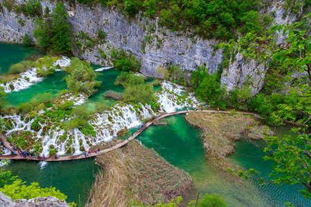 Boardwalk in the park Plitvice lakes, Croatia photo