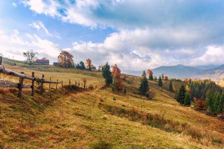 Colorful autumn landscape in the Carpathian mountains. Transylvania,Romania. Europe.