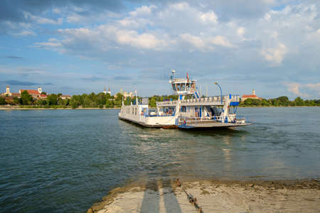 vac: Transport ferry on the danube river, Vac, Hungary Stock Photo