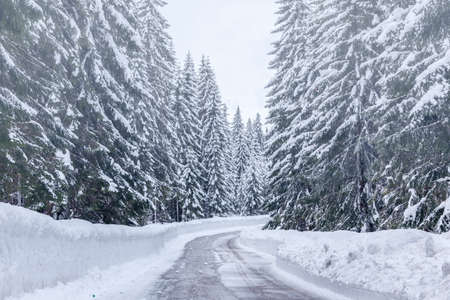 Snowy winter road in Julian Alps-Slovenia
