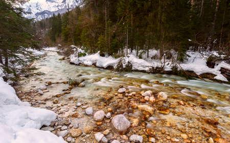 river: Mountain river in winter time in Julia Alps- Slovenia