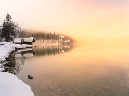 national forests: Winter time in lake Bohinj in Triglav national park-Slovenia