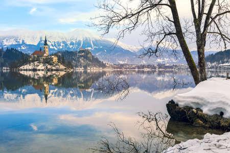 karavanke: Church of the Assumption on the island in lake Bled-Slovenia