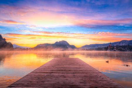 karavanke: Amazing sunrise at the lake Bled in winter, Slovenia, Europe