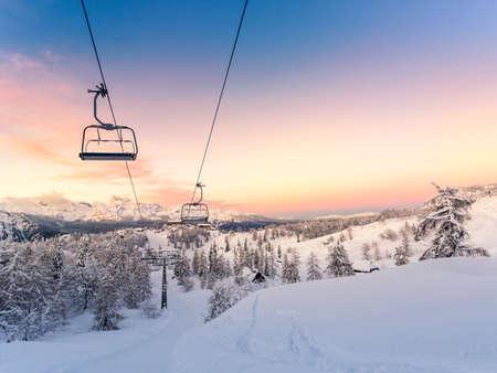 ski slopes: Winter mountains panorama with ski slopes and ski lifts near Vogel ski center, Slovenia