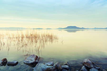 Beautiful sunset in lake Balaton-Hungary