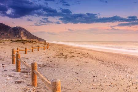 gusty: Sunset beach near Almeria. Cabo de Gata Nijar Natural Park, Spain. Andalusia