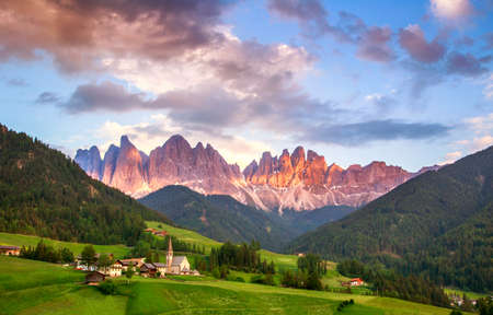 alto adige: Santa Maddalena village in front of the Geisler or Odle Dolomites Group, Val di Funes, Val di Funes, Trentino Alto Adige, Italy, Europe.