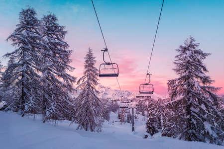 wintersport: Winter mountains panorama with ski slopes and ski lifts near Vogel ski center, Slovenia