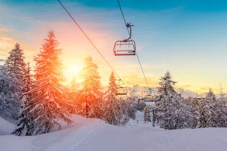 Sunset in winter landscape  in mountains Julian Alps-Europe