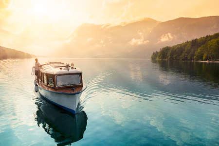 bohinj: Beautiful sunset in lake of Bohinj - Slovenia