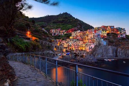spezia: Manarola village at twilight. Manarola is a small town in the province of La Spezia, Liguria, northern Italy