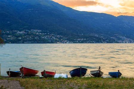 lake sunset: Stormy sunset in lake Como-Italy, Europe
