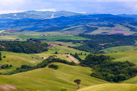 volterra: Magnificent Tuscan landscape, fields and meadows near Volterra in Italy