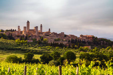 Beautiful landscape with the medieval city of San Gimignano in Tuscany, province of Siena, Italy