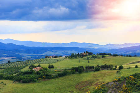 Magnificent Tuscan landscape, fields and meadows near Volterra in Italy