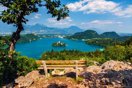 karavanke: Lake Bled in summer, view from above, Slovenia. Stock Photo