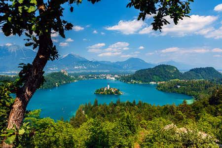 karavanke: Panoramic view of Bled Lake, Slovenia, Europe Stock Photo
