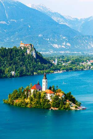 karavanke: Bled with lake in summer, Slovenia, Europe