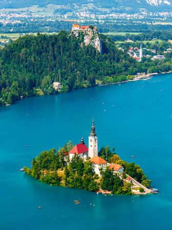 Panoramic view of Bled Lake, Slovenia, Europe Foto de archivo