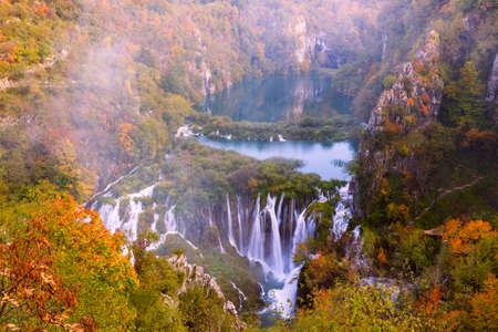 utum colors and waterfalls of Plitvice National Park in Croatia