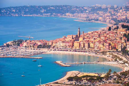 menton: Aerial view of Menton town in French Riviera