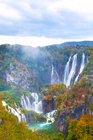 water flow: Autum colors and waterfalls of Plitvice National Park in Croatia