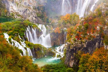croatian: Autum colors and waterfalls of Plitvice National Park in Croatia