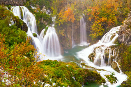 autum: Autum colors and waterfalls of Plitvice National Park in Croatia