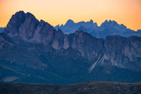 Layers of mountain Dolomites autumn in South Tyrol. Italy Stock Photo