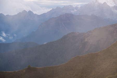 sella: Layers of mountain Dolomites autumn in South Tyrol. Italy Stock Photo