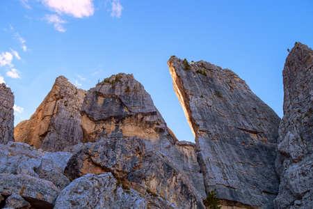 tyrol: Cinque Torri Dolomites autumn in  South Tyrol. Italy Stock Photo